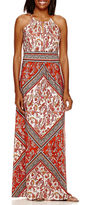 London Times London Style Collection Halter Printed Maxi Dress
