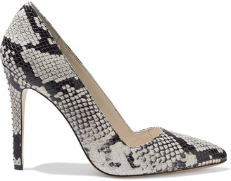 Alice + Olivia Dina Snake-effect Leather Pumps