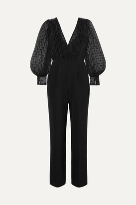 Saloni Bernadette Cady And Embroidered Tulle Jumpsuit - Black