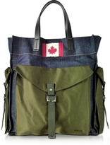 DSQUARED2 Military Chic Fabric and Denim Men's Tote Bag