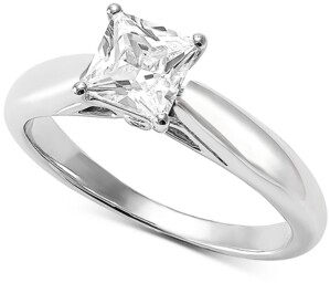 Grown With Love Lab Grown Diamond Princess Solitaire Engagement Ring (1 ct. t.w.) in 14k White Gold