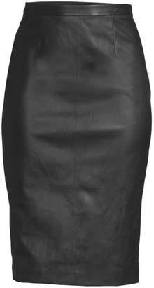 St. John Leather Pencil Skirt