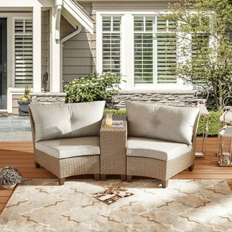 Rocco 3 Piece Rattan Sofa Seating Group with Cushions Highland Dunes