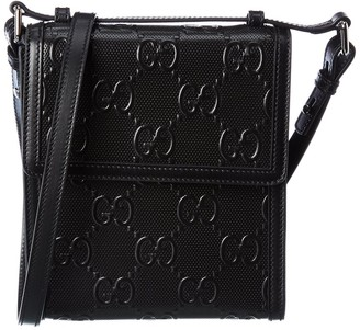Gucci Gg Embossed Leather Messenger Bag