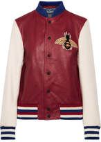 Gucci Appliquéd Leather And Wool Bomber Jacket - Claret
