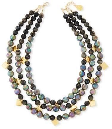 Devon Leigh Three-Row Labradorite Beaded Necklace