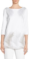 St. John Metallic Palm Frond Jacquard Knit Tunic