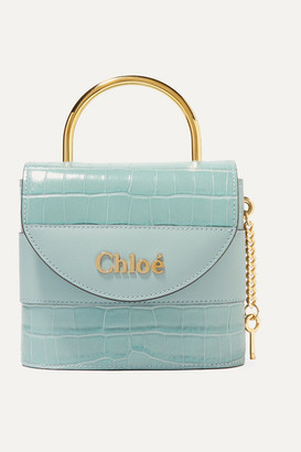 Chloé Aby Lock Small Croc-effect Leather Shoulder Bag - Blue