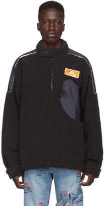 Off-White Black Eco Fur Moto Half-Zip Pullover