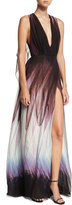 Elie Saab Feather-Print Sleeveless Cape Gown