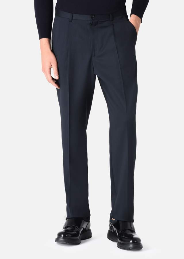 Emporio Armani Virgin Wool Trousers With Darts