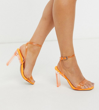 ASOS DESIGN Wide Fit Norton barely there heeled sandals in orange