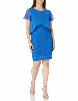 Ronni Nicole Women's Short Sleeve Caplet Top Over Lace Sheath