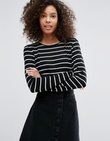 Monki Stripe Long Sleeve T-Shirt