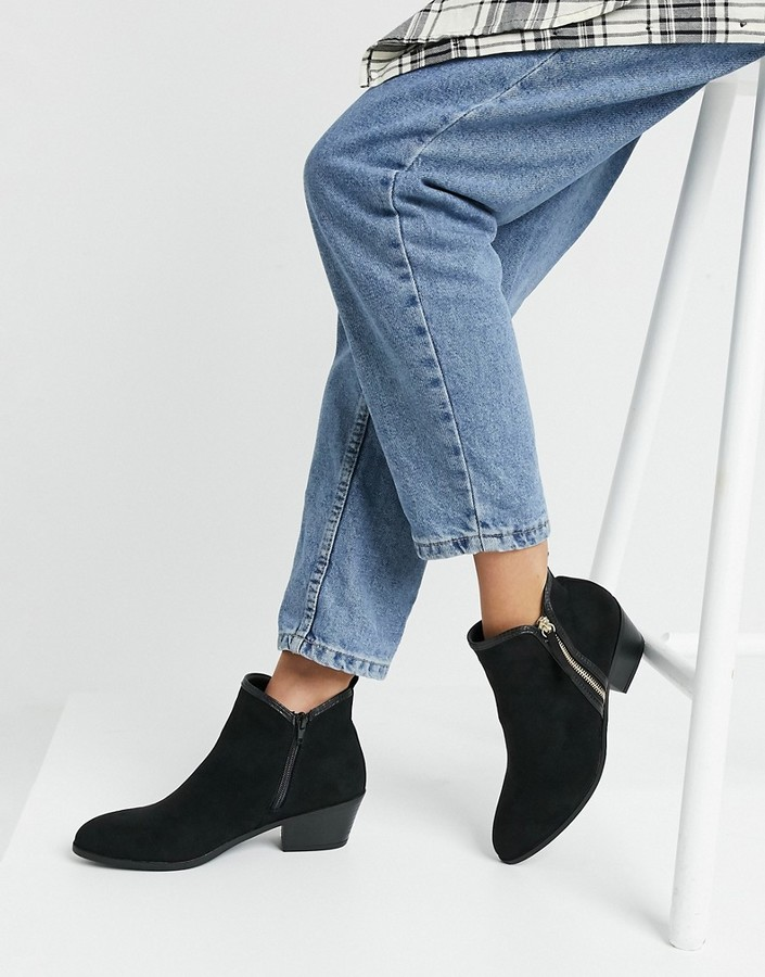 New Look ribbed elastic detail western boot in black