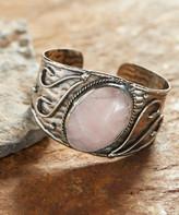 Anju Women's Bracelets Antique - Rose Quartz & Silvertone Moon Cuff