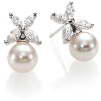Majorica 8MM White Pearl Floral Drop Earrings