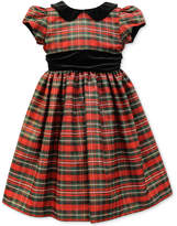Jayne Copeland Velvet-Trim Plaid Special Occasion Dress, Little Girls (4-6X)