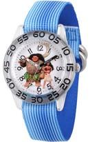 clear Versil Moana and Maui Boys' Plastic Time Teacher Watch, Blue Stripe Stretchy Nylon Strap