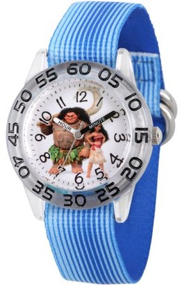 Versil Moana and Maui Boys' Clear Plastic Time Teacher Watch, Blue Stripe Stretchy Nylon Strap