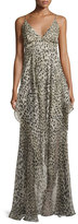 Roberto Cavalli Leopard-Print High-Low Cami Gown