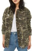 Topshop Women's Cleo Stud Rip Camo Jacket