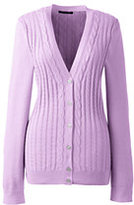 Classic Women's Cotton V-neck Cable Cardigan Sweater-Soft Lilac