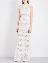 Elie Saab Sleeveless sheer floral-lace gown