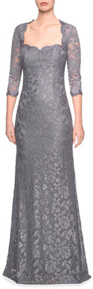 La Femme Sweetheart 3/4-Sleeve Lace Column Gown w/ Sequins