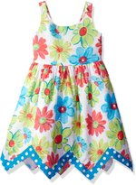 Bonnie Jean Little Girls' Sleeveless Floral Hanky Hem Cotton Dress