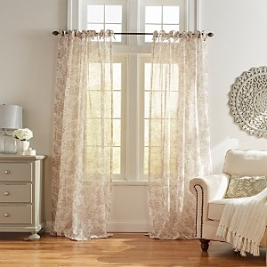 Elrene Home Fashions Westport Floral Tie-Top Sheer Curtain Panel, 52 x 84
