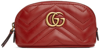 Gucci Red Mini GG Marmont 2.0 Quilted Zip Pouch