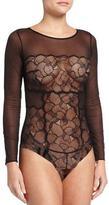 La Perla Iris Mesh-Lace Bodysuit, Black