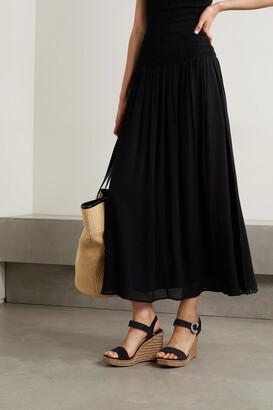 Jimmy Choo Mirabelle 110 Crystal-embellished Leather Espadrille Wedge Sandals - Black