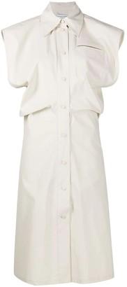 Bottega Veneta White Sleeveless Buttoned Midi Dress