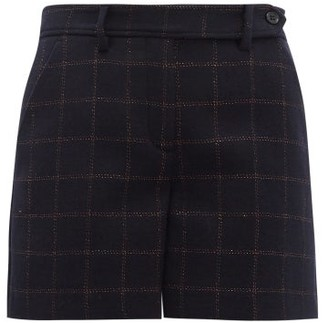 RED Valentino Metallic Check Wool Blend Shorts - Womens - Navy Multi