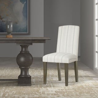 HomePop Classic Parsons Dining Chair - Dove Grey Stripe