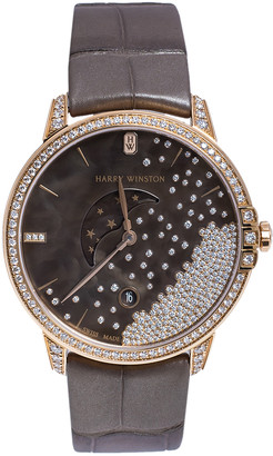 Harry Winston Chocolate Brown Mother of Pearl 18K Rose Gold Diamond Alligator Leather Midnight MIDQMP39RR004 Women's Wristwatch 39 mm