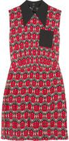 Miu Miu Pleated floral-print crepe mini dress