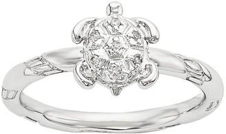 Simply Stacks Sterling Diamond Turtle Ring