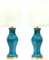 One Kings Lane Vintage Porcelain & Brass Table Lamps - Set of 2 - La Maison Supreme - base, turquoise/gold; shade, white