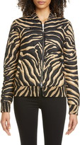 Moncler Abricot Zebra Stripe Quilted Silk Bomber Jacket
