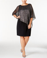 Connected Plus Size Metallic Cape-Overlay Dress
