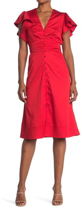 Veronica Beard Sada Ruffle Sleeve Front Button Midi Dress