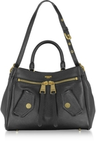 Moschino Black Leather Satchel Bag