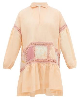 Story mfg. Olga Crochet-trim Voile Mini Dress - Pink