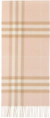Burberry Pink and Beige Giant Check Scarf