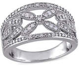 Concerto 0.14 TCW Diamond Filigree Floral Ring in Sterling Silver