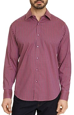 Robert Graham Dominico Cotton Stretch Mini Check Classic Fit Button Up Shirt