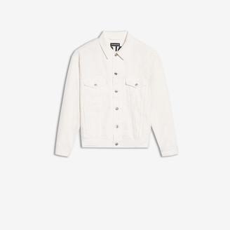 Balenciaga Logo Jacket in stonewashed white embroidered denim
